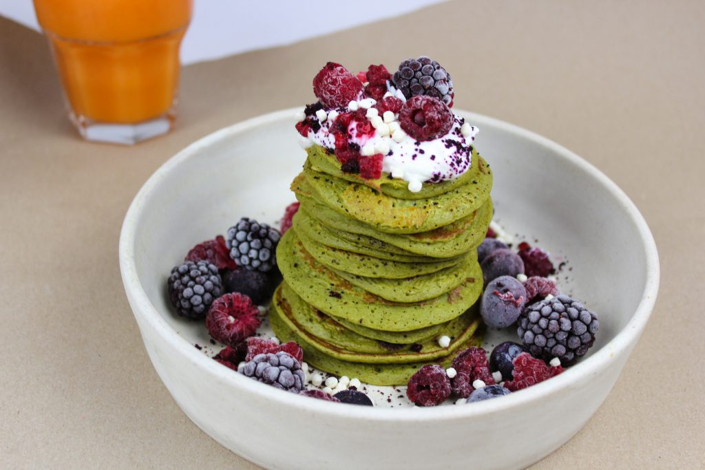 Matcha pancakes by Ellie Blackwell with Lalani & Co Matcha Gold